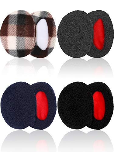 4 Pairs Unisex Bandless Ear Warmers Fleece Ear Muffs Thick Winter Ear Covers (Color Set 2, Large Size) (Clearance Bags Ear)