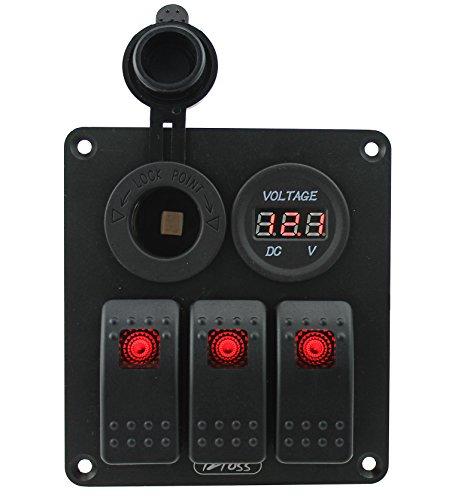 Iztoss 3 gang rocker switch panel with power socket DC12V/24V voltmeter and Decal Sticker Labels DC12V/24V for Marine Boat Car Rv Vehicles Truck Red led by IZTOSS