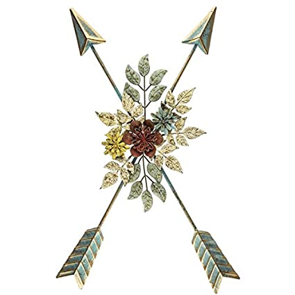 Amazon.com: Crossed Arrows Metal Wall Decor with Floral Center: Home ...
