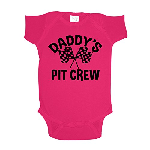 The Shirt Den Daddy's Pit Crew Racing Baby One Piece 6 mo Cyber Pink (Car Outfit)