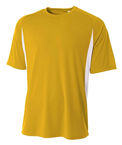 A4 Men's Cooling Performance Color Block Short Sleeve Tee, Gold/White, X-Large - Gold Colour Block