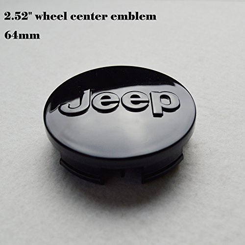 "Cherokee Wheel Jeep Grand (Hanway 4 pcs 2.52""emblem black logo jeep emblem 64mm Wheel Center Caps Hubcaps For Jeep Grand Cherokee / Jeep Wrangler Rubicon / Liberty)"