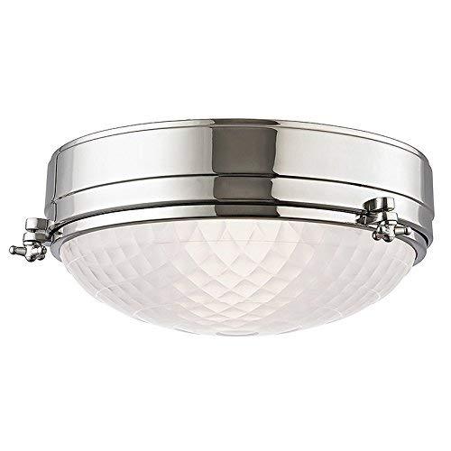 Hudson Valley Lighting Belmont 2-Light Flush Mount - Polished Nickel Finish with Frosted Glass - 2 Belmont Light