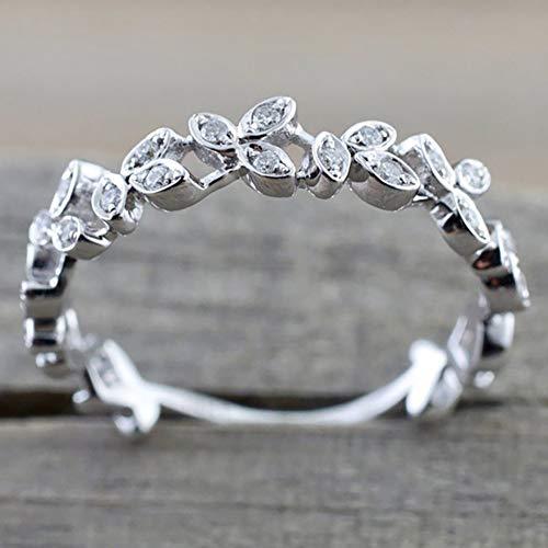 Slendima Exquisite Hollow Leaf Design Women Fashion Rhinestone Jewelry Engagement Wedding Ring Silver US 6 by Slendima (Image #2)