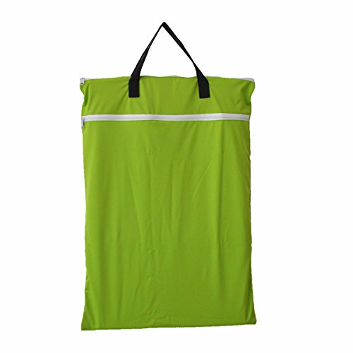 Large Hanging Wet/dry Cloth Diaper Pail Bag for Reusable Diapers or Laundry (Green)