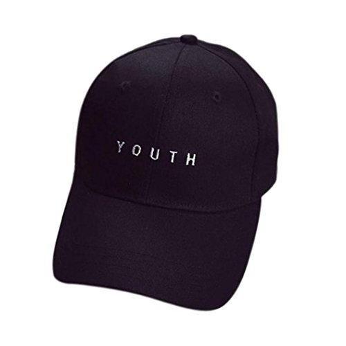 Price comparison product image Challyhope Fashion Youth Letter Embroidery Cotton Baseball Cap Unisex Dad Hat Snapback Hip Hop Flat Hat (Black)
