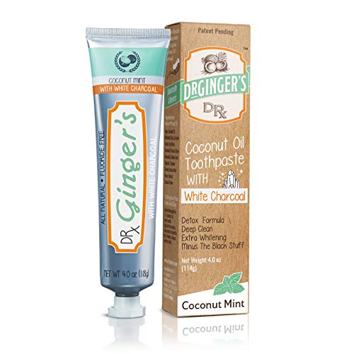 Dr. Ginger's Coconut Oil Toothpaste with White Activated Charcoal | Extra Whitening | 100% Natural | Fluoride Free | Supports Healthy Gums | Great Coconut Mint Taste (Mint Coconut Toothpaste)