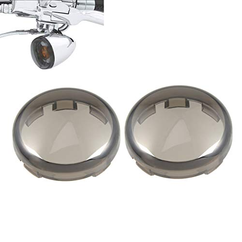 Lalaparts 2pcs Smoke Bullet Turn Signal Lens Covers Compatible for Harley-Davidson 1997-2018