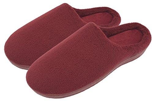 House Mens Finoceans Shoes Womens Memory Soft Slippers Indoor Fleece Red Wine Outdoor Coral Foam U5nqRxBTn