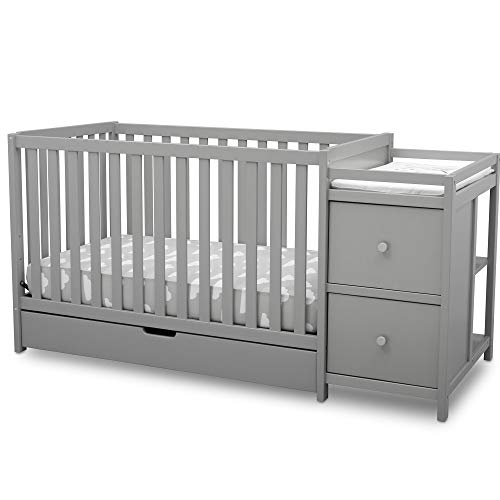 Delta Children Heartland Convertible Baby Crib N Changer with Drawer, Grey