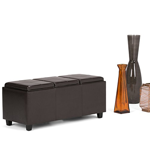 Simpli Home Avalon Faux Leather Rectangular Storage Ottoman with 3 Serving Trays, Large, Tanners Brown