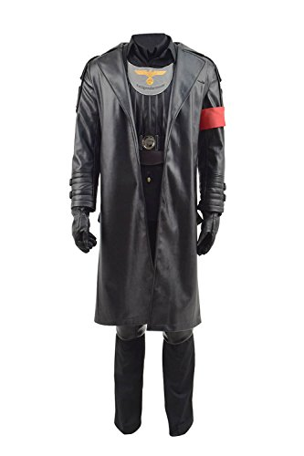 (VOSTE Halloween Cosplay Costume Black PU Jacket German Officer Full Set for Men (Custom-Made,)