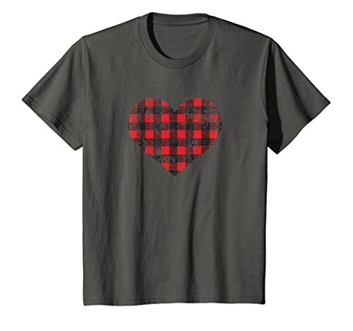 Price comparison product image Kids Funny Lumberjack Shirt, Flannel Heart Pattern Gift 8 Asphalt