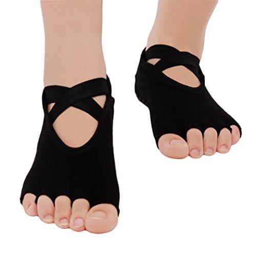 Rurah Black Open Toe Slip Cross Yoga Socks Fitness Socks For Ballet, Yoga, Pilates