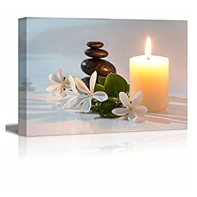 Canvas Prints Wall Art - Tiare Flowers, Candle and Black Stone Spa Concept | Modern Wall Decor/Home Decoration Stretched Gallery Canvas Wrap Giclee Print. Ready to Hang - 12