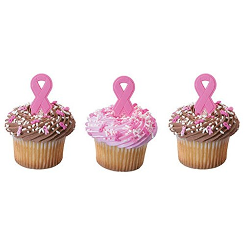 Breast Cancer Awareness Pink Ribbon Cupcake Picks - 24 Count -