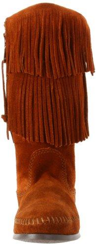 Minnetonka Women's Calf Hi 2-Layer Fringe Boot Brown 9VS96x
