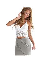 Women's Intimates, ABC Women sexy Lace Intimates Crochet Halter Crop Tank Summer Beach Tops Blouse Lingerie Underwear clothes
