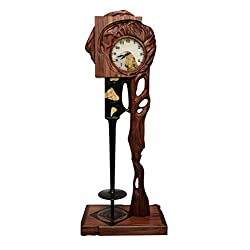 Emelyanov Luxury Handcrafted Floor Clock CRONOS by Made of Bog Oak, Tineo, Inlay Natural Baltic Amber Up 4mln. Years Old