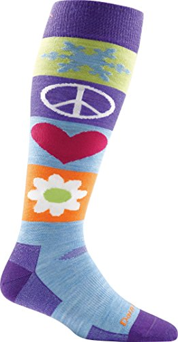 Darn Tough Peace Love Snow Cushion OTC Sock - Women's Majesty Medium