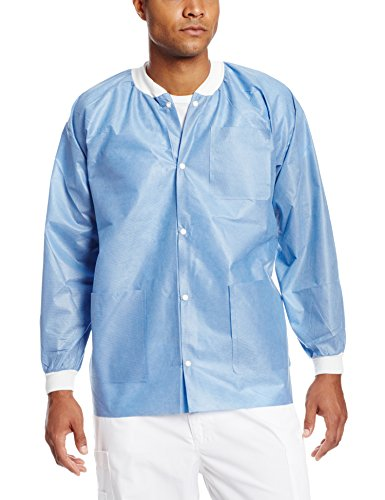 ValuMax 3630CBL Extra-Safe, Wrinkle-Free, Noble Looking Disposable SMS Hip Length Jacket, Ceil Blue, L, Pack of 10 (Disposable Valumax Lab Coat)
