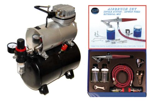 - PAASCHE H-SET AIRBRUSH w/Quiet AIR COMPRESSOR with TANK