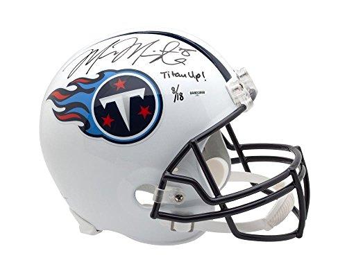(MARCUS MARIOTA Signed & Inscribed Tennessee Titans Schutt Replica Helmet UDA LE 18)