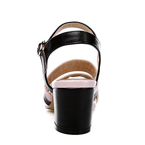 AllhqFashion Damen Offener Zehe Mittler Absatz Weiches Material Gemischte Farbe Schnalle Sandalen Schwarz