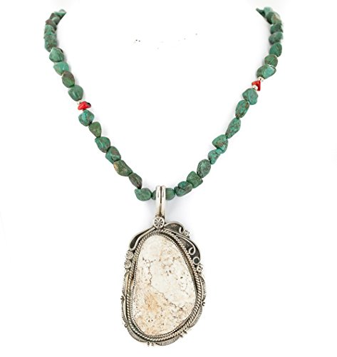Certified Authentic Navajo .925 Sterling Silver Natural White Buffalo Turquoise Turquoise Coral Native American Necklace