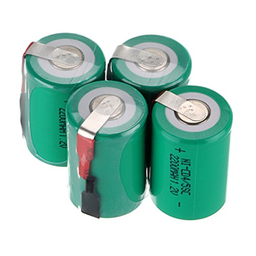 WindMax US SELLER Green Color 4 PCS 1.2V 2200mAh Ni-Cd NiCd Rechargeable Battery Batteries 4/5 Sub C SC with Tabs
