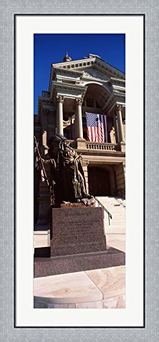 Statue at Wyoming State Capitol, Cheyenne, Wyoming, USA by Panoramic Images Framed Art Print Wall Picture, Flat Silver Frame, 20 x 44 inches