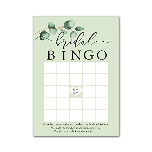 Heads Up Girls Bingo Game Cards for Bridal Wedding Showers with Watercolor Silver Dollar Leaf Branch BBG8002 by Heads Up Girls