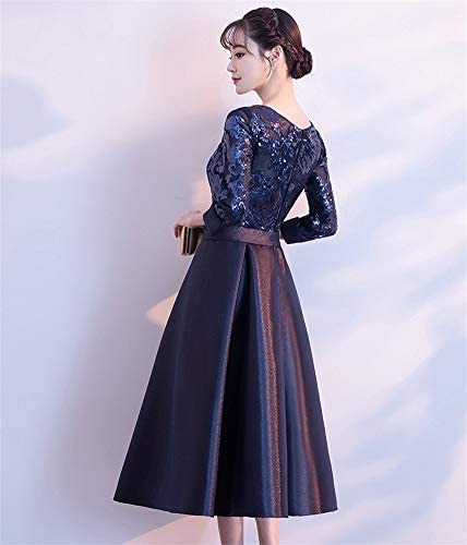 Drasawee Womens Elegant 2//3 Sleeves Satin Evening Dress A Line Sequined Formal Dresses