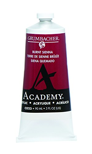 Grumbacher Academy Acrylic Paint, 90ml/3 oz Metal Tube, Burnt Sienna
