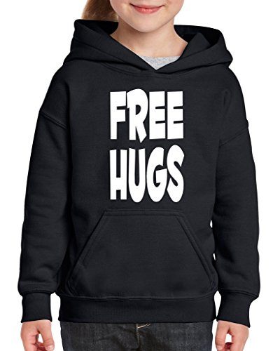Acacia Free Hugs Unisex Hoodie For Girls and Boys Youth Sweatshirt Large Black