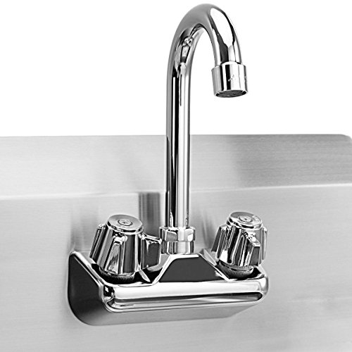Giantex Commercial Stainless Steel Hand Washing Sink with Wall Mount Faucet Kitchen Heavy Duty Hot & Cold Temperature Water Inlet Washing Basin, Silver by Giantex (Image #6)
