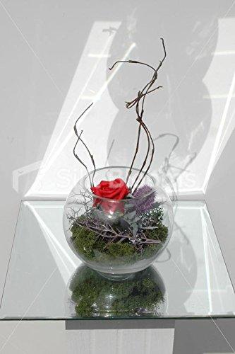 Rosa y lila Artificial Mini pecera florero de cardo