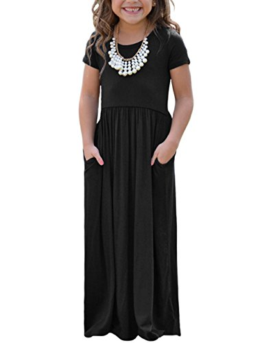 Lookbook Store Girls Casual Black Short Sleeve Long Maxi Dress Children Solid Swing Dress With Pocket Size L