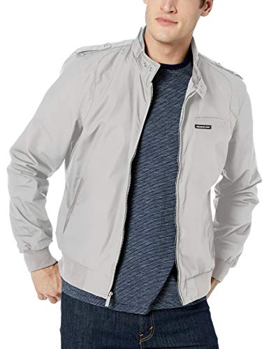 Members Only Men's Original Iconic Racer Jacket, Light Grey, Large