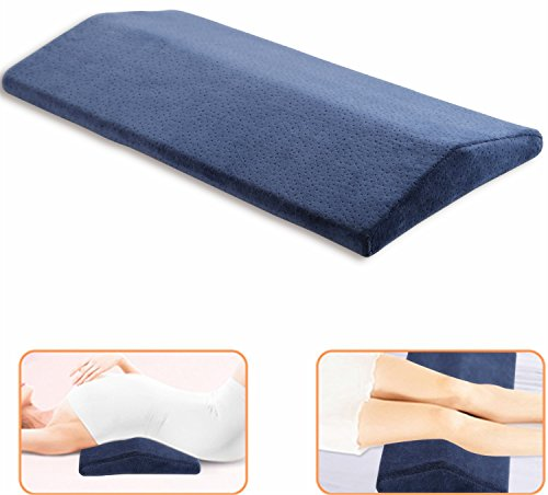 Sleeping Pillow for Lower Back Pain,Multifunctional Lumbar Support Cushion for Hip,Sciatica and Joint Pain Relief,Orthopedic Side Sleeper Bed Pillow,Soft Memory Foam (blue)
