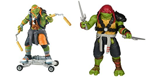 [Super Hero Ninja Turtles Movie 2 Michelangelo & Raphael 5-inch Action Figures Toys, 2 Pack] (Assassins Creed Costume For Kids At Party City)