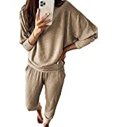 PRETTYGARDEN Women's 2 Piece Sweatsuit Solid Color Long Sleeve Pullover Long Pants Tracksuit