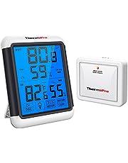 ThermoPro TP65 digital trådlös hygrometer inomhus utomhus termometer trådlös temperatur- och fuktighetsmätare med pekskärm bakgrundsbelysning väderstation, 200 fot eller 60 meters räckvidd