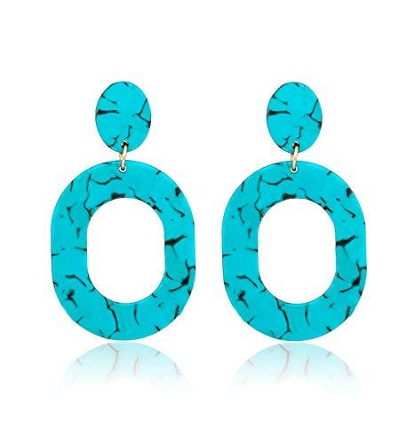 Acrylic Earrings For Women Girls Statement Geometric Earrings Resin Acetate Drop Dangle Earrings Mottled Hoop Earrings Fashion Jewelry (green) ()