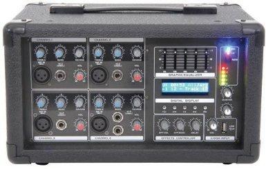 (TC360 - QTX QP SERIES POWERED 8 WAY PORTABLE MIXER-AMPLIFIER 15V USB INPUT LCD)