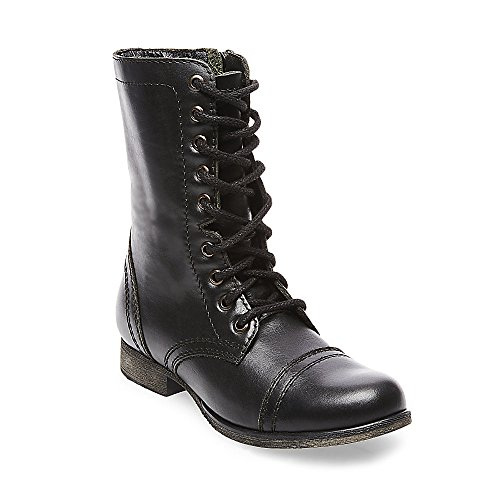 Steve Madden Women's Troopa Lace-Up Boot, Black Leather, 9 M (Black Leather Lace Up Boots)