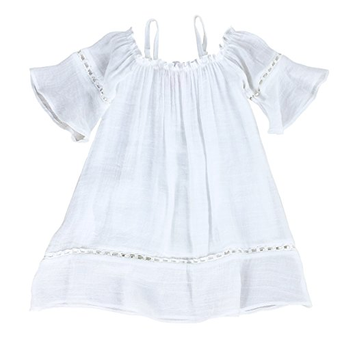 Toddlers and Girls Billowy Gauze-Cotton Madeline Off-Shoulder Dress in Beach White Size 3T