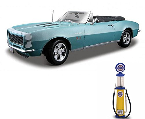 Chevy Diecast Car & Gas Pump Package - 1967 Chevy Camaro SS 396 Convertible, Turquoise - Maisto 31684 - 1/18 Scale Diecast Model Toy Car w/Gas Pump ()