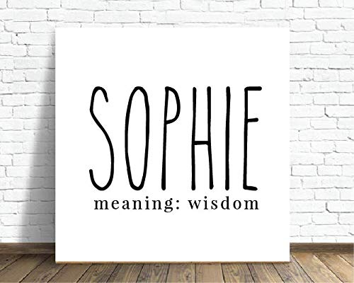 - Nspired Ink Personalized Child's First Name Custom Canvas with Meaning - Sophie 12x12 inch