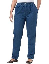 Plus Size Petite Cotton Straight Leg Mockfly Jean